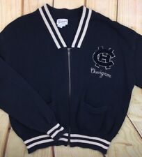 Mens Small Vintage Chevignon Cardigan Sweater Black Full Zip Spell Out