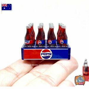 Mini Pepsi Soda Crate with 12 Mini bottles x 2 Sets - Miniature Dollhouse 1:12
