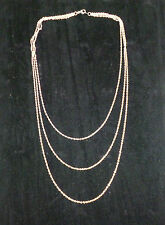 Sterling silver three tiered fine belcher link chain necklace with trigger 925