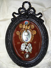 French Sentimental Mourning - Hair Reliquary - Bridal Wreath Convex Glass 1916