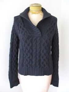 Ralph Lauren blue chunky cable knit cotton ski sweater shawl collar pullover S
