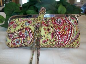 Vera Bradley Silk Collection Kisslock Wristlet Pistachio Paisley Green LE Ltd Ed