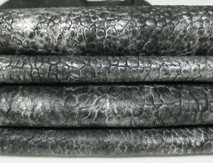 WASHED METALLIC SILVER grainy veg tan Lambskin leather skins 12sqf 1.6mm #A7194