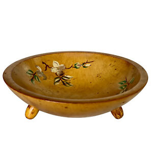 Vintage Farmhouse Wood Turned Serving Salad Fruit Bowl by Woodcroftery