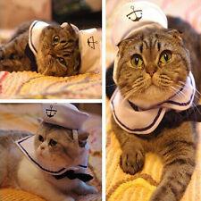 Pet Puppy Cat Smal Sailor Suit Adjustable Outfit Costume Hat&Cape White