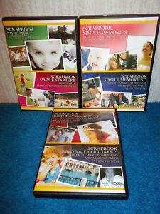 SCRAPBOOK STARTERS, TRIBUTES, MEMORIES, BIRTHDAY HOLIDAYS - 3 x PAL DVD's - VGC