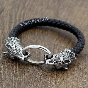Men's Stainless Steel Bangle Wolf Head Black Genuine Leather Bracelet Biker Cuff