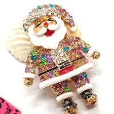 Santa Claus Christmas Brooch Pin Hot Betsey Johnson Enamel Colorful Crystal
