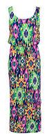 Ladies Women Summer Printed Puff Ball Racer Back Elasticated Waist Maxi Dress