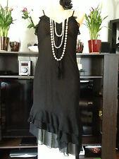 Vestido de fiesta H&M Negro Con Cuentas Estilo Vintage Década de 1920 aleta Cóctel de crucero Talla 38