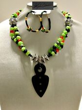 Global Tribal Bold Green&Black Agate Spear  Necklace & Earrings CLEARANCE SALE!!