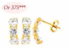 Boucles d'Oreilles Trio Diamant Cz de 4 mm en Or Massif 9K de Dolly-Bijoux