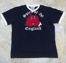 Kickers Navy Blue M Mens Spirit of 66 England T-Shirt BNWT Brand New V-Neck Top