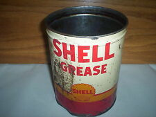 "Vintage Shell Grease Oil Can Tin 5LBS : (7 3/8"" Tall x 5 3/4"")"