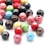PD: 50 Mix Rund Porzellan Keramik Perlen Beads Spacer Kugel 6mm