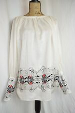 Thomas Wylde 100% SILK  Blouse/ Top Size Small White with Black and Red Floral