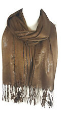 Ladies Womens Glitter Stripes* Net Scarf Shawl Stole Cover Up - Mocha (PRTY)