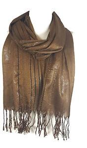 Ladies Womens Glitter Stripes* Net Scarf Shawl Stole Cover Up - Mocha (PRTY)