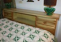 Bassett MCM Dresser Mirror Tallboy Full Bed Frame Starburst Atomic Pulls Vintage