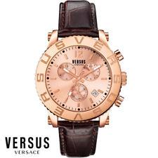 Versus by Versace SOH090015 Madison Chrono roségold braun Leder Herren Uhr NEU