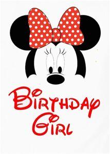 DISNEY MICKEY MINNIE MOUSE ::BIRTHDAY GIRL;;;;;;;;;;;; T-SHIRT IRON ON TRANSFER