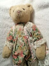 Vintage Vermont Teddy Bear Floral & Lace Dress Jointed 14 Inch Ballerina