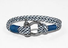 Nautical Paracord Bracelet with Shackle - Artic Digital and Blue