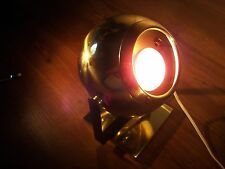 Vtg Globe Spotlight Retro Mid Century Modern Round ORB Brass Lamp Eyeball Light