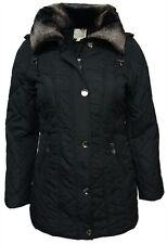 Size 18 Ladies Black Coat Long Jacket Detachable Collar Zip Pockets Parker
