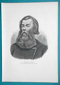 RUSSIA Portrait of Southern Russian Land Agent - 1880s Wood Engraving Print