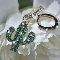 18k yellow gold gp green crystal Cactus star huggies unbalanced dangle earrings