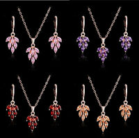 18k Gold Plated Cubic Zirconia Sets Crystal Leaf Pendant Necklace Earrings