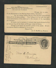 1900 JAS E MAC MURRAY NAT'L HOME BUILDING & LOAN CHICAGO IL US POSTAL CARD UX14