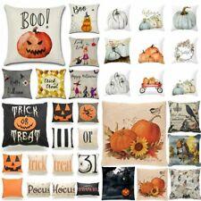 """18""""Fall Halloween Pumpkin Pillow Case Waist Throw Cushion Cover Sofa Home Decor"""
