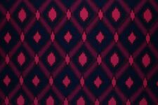 SALE!!!  Wool Peach Ikat Harlequin Print Dress Fabric Material  (Midnight Blue)