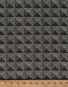 Geometric Squares Diamonds Pyramid Shapes Gray Cotton Fabric Print BTY D695.29