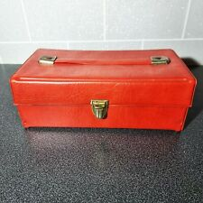 More details for vintage red small travel audio cassette tape storage case holder faux leather