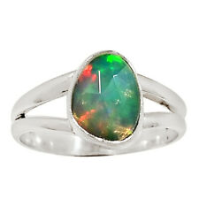 Faceted Ethiopian Opal 925 Sterling Silver Ring Jewelry s.7 29642R