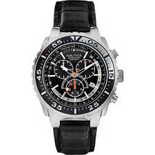 Orologio uomo cronografo Nautica A14678G acciaio cinturino pelle nero datario