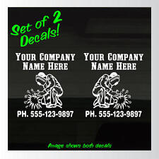 """Set of 2 Welder Welding Add Your Business Name and Phone Decals Stickers 6.5""""x7"""""""