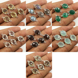 925 Sterling Silver Natural CHALCEDONY, QUARTZ & Other Gemstone Connectors 2 Pcs
