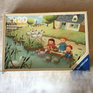 RAVENSBURGER 2x 20 Piece FARM Jigsaw Puzzle 1990 Made in Germany RARE Geese Duck