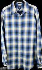 Gap Size L Long Sleeve Relaxed Blue White 100% Thick Cotton Woven Plaid Shirt