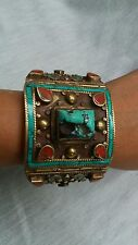 Pretty Vintage Statement Nepalese Tibetian turquoise coral inlay bracelet
