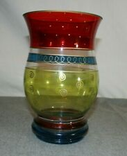 Pier 1 Imports Multi Color Colorful Glass Vase Dots & Swirls
