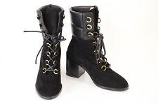 Stuart Weitzman black 8.5 suede leather round toe mid-calf boot shoe NEW $698