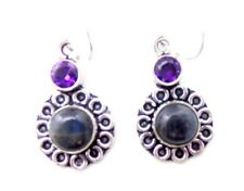 ED15 BLUE APATITE ACCENTED WITH AMETHYST STERLING SILVER 925 DANGLE EARRINGS