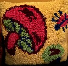 "Carpet Pillow Multicolor Yellow & Red Cushion 15"" x 15"" Blue Velvet back Playful"