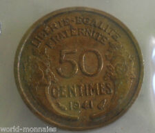 50 centimes morlon 1941 : TTB : pièce de monnaie française