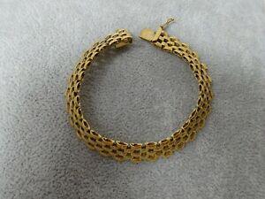9ct Gold Brick Link Bracelet - 18cm 11g